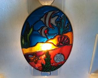 Under Water Ocean Shell Fish Night Light  4 watt  on/off switch