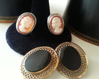 Vintage 800 Silver Italian Cameo and Gold Filled Black Onyx Clip on Earrings