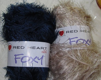 FOXY RED HEART two balls fun fur yarn - one Buff the other Navy, mailed from Canada