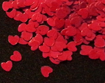 solvent-resistant glitter shapes-deep red hearts