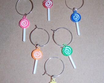 Set of 6 - Lollipop Wine Charms