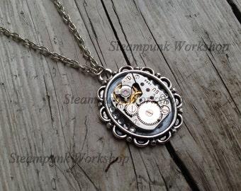 Handmade STEAMPUNK Pendant Necklace With Vintage Watch Movement + Swarovski elements