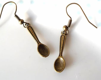 Cute Bronze Teaspoon Charm Earrings, Tea Time, Miniature, Kitsch,Tea Spoon, Steampunk, Tea Party, Spoon