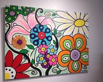 Bright flowers canvas art 36 x 42
