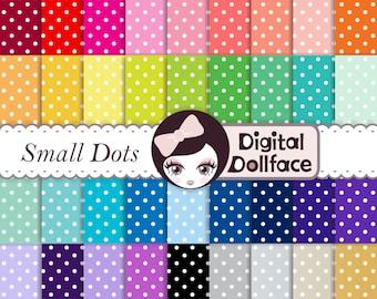 Rainbow Polka Dot Digital Paper, Scrapbook Paper Pack, Commercial Use
