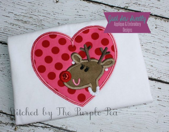 Girl Reindeer Applique Girl Reindeer Rudolf Applique