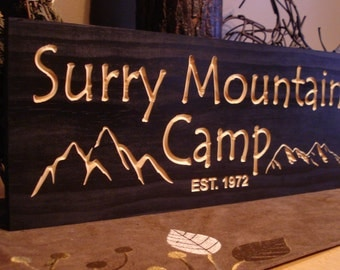 Wooden Carved Signs black Rustic Camp Sign Welcome Signs Established Mountain carved Signs Address Plaque Name Plaque Benchmark Signs