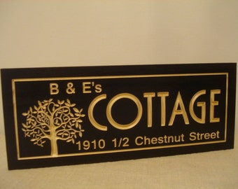 Personalized Wooden Sign Carved black Cottage Address Sign Anniversary Wedding Gift Wood Wall Art Unique gift ideas Benchmark Signs Gifts