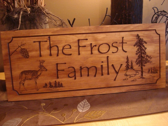 Rustic family last name welcome signs pine tree pine cone for Cabin signs wood