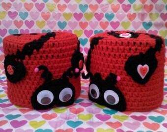 toilet paper cover,bathroom,ladybug,crochet,lovebug,