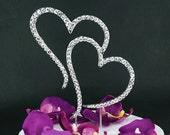 READY TO SHIP Large Double Heart Rhinestone Silver Crystal Birthday Anniversary Cake Topper