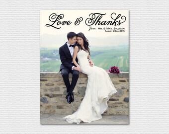 Printable Wedding Thank You Postcard - Love and Thanks Fancy Script - Photo Wedding Thank you Postcard