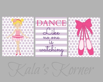BALLERINA NURSERY ART - Ballerina nursery decor, ballerina playroom, children wall art
