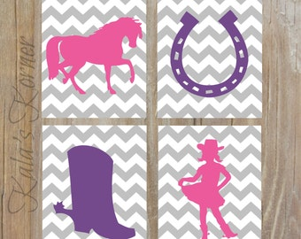 COWGIRL WALL DECOR - Horse Decor - Cowgirl Wall Art - 4 Piece Unframed Print Set