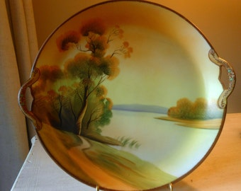 Antique Nippon Moriage Hand Painted Porcelain Plate