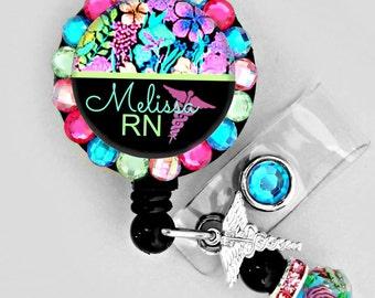 Colorful flower medical ID badge reel (E258)
