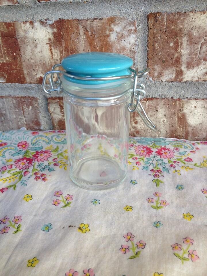 mini latch top glass jar with aqua lid silver by retroretake. Black Bedroom Furniture Sets. Home Design Ideas