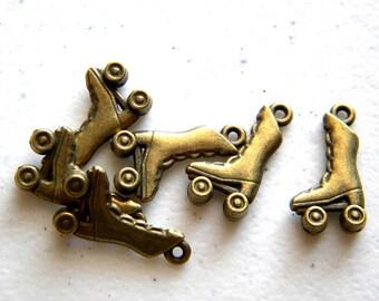 6 Bronze Roller Skate Charms