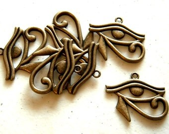 6 Bronze Eye of Horus Charms
