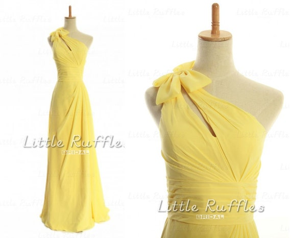 Daffodil Yellow Bridesmaid Dresses,Fresh Yellow Chiffon Dress,Long Bright Yellow Formal Dress,Bridal Party Dresses,Bridesmaid Dresses(BB797)