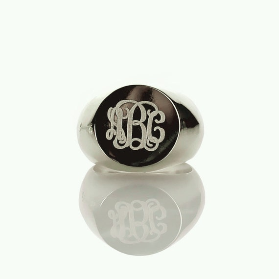 personalized sterling silver monogram rings by