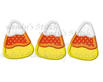 Three candy corns applique machine embroidery digital design