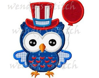 July 4th patriotic owl with balloon applique machine embroidery design