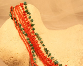 Gorgeous WENDY MINK Natural Coral and Turquoise South West bracelet,hand knotted.