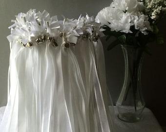 50 Wedding Wands/Wedding Ribbon Wands/Wedding Wand/Wedding Streamers/White and White Sheer