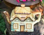 Cottage Teapot - Keele Street Potteries England - Creamy Yellow - 1940s - 2 1/4pints