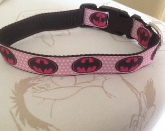 Handmade pink and white batman collar
