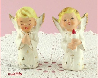 Set of Two Vintage Kneeling Angel Figurines  (Inventory #CH1396)
