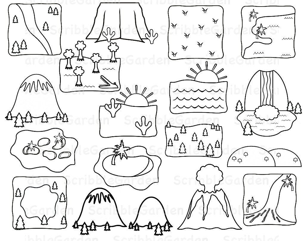 Items similar to Landforms Geography Line Art ClipArt on Etsy