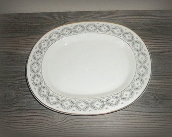 Gustavsberg Collectors Plate ,,Vadstena,, White Swedish Porcelain Serving Plate Wall Decor Platter Oval Plate @ 47