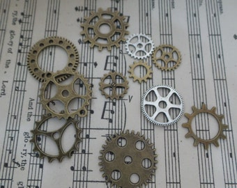 Set of 11pieces -Metal gear embellishment/NEB12-Bronze/silver gear embellishment/Gear trinket