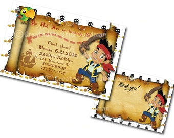 Jake and the Neverland Pirate  Invitation AND thank you cards Digital File You Print