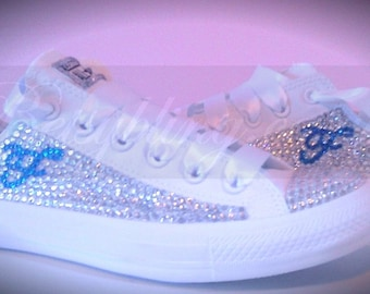 SALE **15% original off price** All Over Crystal Converse with Initial ANY colours-Custom Crystal Converse all Colours. Free UK Delivery