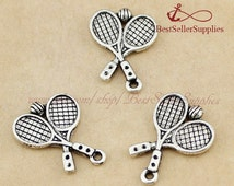 30 PCs, Tennis Racket, Tennis Racquet Pendant, Tennis Charms, Racket Charms, Fittings, Jewelry Making Findings, Craft Supplies, 20*14MM