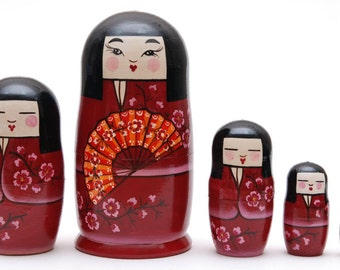 EXCLUSIVE Russian geisha matryoshka babushka russian nesting doll 5 pc Free Shipping plus free gift!