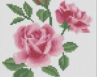 3 Pink Roses - Cross Stitch Pattern