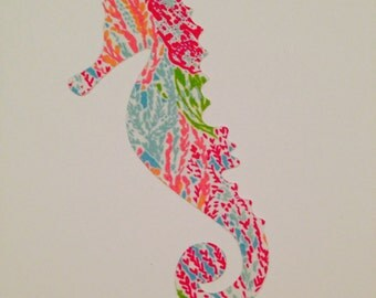 Lilly Pulitzer Inspired Seahorse Vinyl Decal NEW PRINTS
