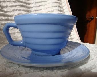 FREE SHIPPING Hazel Atlas Monderntone Blue Cup & Saucer!