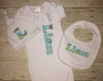 Monogrammed Infant Gown Set