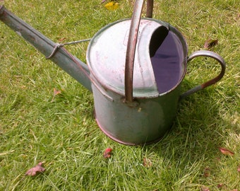 vintage 1 gallon small watering can in painted green. rustic. holds water garden.allotment