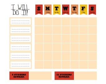 "Printable Orange Red Chore Goal Reward Chart - digital PDF file 8.5""x11"""