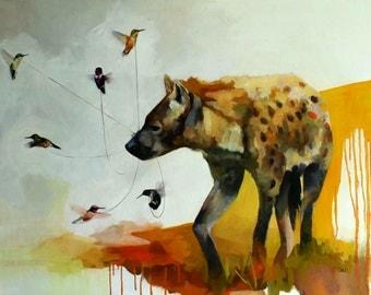 "Fine Art Print of ""Hyena and Hummingbirds"""