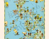 Pictorial Map of Philippine Islands - colorful fun illustration of vintage map