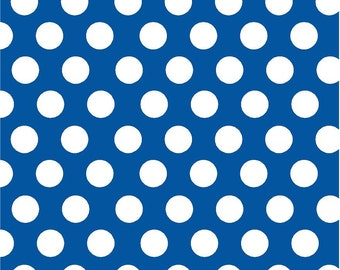 Blue with white dots craft  vinyl sheet - HTV or Adhesive Vinyl -  large white polka dot pattern HTV724