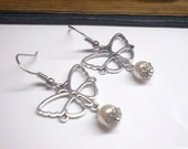 Simply Silver Butterfly Earring pearls,wedding earrings Romantic  shabby chic .