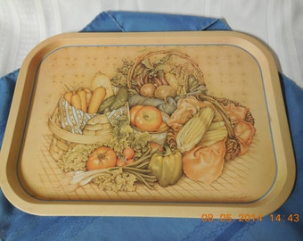 Metal tray with fall decoration on it, named Harvest by Jamie Gardner Rehfeld.